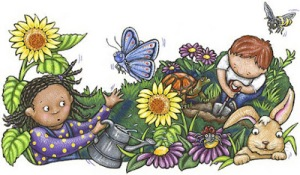 kids in the garden cartoon